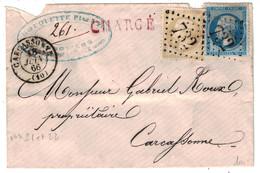 1866 - LETTRE CHARGÉ De CARCASSONNE AFFRANCHIE À 30c Avec TIMBRES NAPOLEON N° 21 + 22 GC 732 GRIFFE CHARGEMENT AU DOS - 1862 Napoleon III