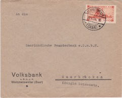 Saar-1934 French Period 80 Cents Orange Red Coal Mine Wemmetsweiler Letter Cover To Saarbrucken - Storia Postale