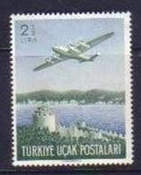 1950 TURKEY 2.5 LIRA AIRMAIL STAMP AIRPLANE MNH ** - 1921-... République