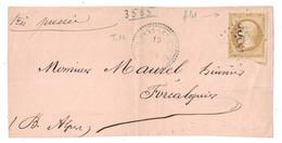 1864 - CAD CACHET PERLÉ TYPE 22 T22 De ST ETIENNE LES ORGUES ALPES Sur DEVANT De LETTRE NAPOLEON N° 21 OBL. GC 3585 - Marcofilia (sobres)