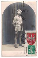 """1916 - VIGNETTE """" AIGLE POLONAIS """" EN COMPLÉMENT Sur CP MILITAIRE AFFRANCHIE SEMEUSE 5c VERT CAD ST DENIS WW1 - Marcophilie (Lettres)"""