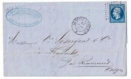 """1859 - OBLITERATION AMBULANT De JOUR """" LE HAVRE À PARIS """" Sur LETTRE LAC AFFRANCHIE NAPOLEON N° 14 REMIREMONT - 1849-1876: Période Classique"""