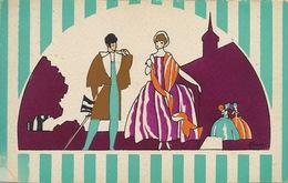 Art Card Art Deco Pochoir Couple Couleurs Vives . Dos Non Carte Postale - Other Illustrators