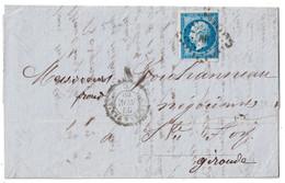 """1860 - OBLITERATION AMBULANT De NUIT """" NANTES À PARIS """" Sur LETTRE LAC AFFRANCHIE NAPOLEON 14 STE FOY GIRONDE - Marcophilie (Lettres)"""