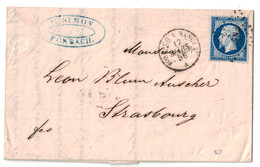 """1856 - OBLITERATION AMBULANT De NUIT """" FORBACH À NANCY """" Sur LETTRE LAC AFFRANCHIE NAPOLEON 14 STRASBOURG - 1849-1876: Période Classique"""