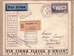 BAS RHIN , SEINE - LETTRE PAR AVION STRASBOURG A AUBERVILLIERS , RECOMMANDE + GRIFFE EXPOSITION AEROPHILATELIE - 1932 - Air Post
