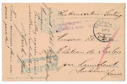 1915 - GRIFFE En VIOLET KRIEGSGEFANGENEN-INTERNIERUNGLSLAGER LITZIRUTI B. AROSA Sur CARTE SUISSE MORBIHAN GEPRUFT WW1 - Postmark Collection (Covers)