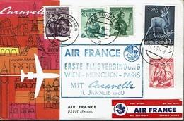 431 Caravelle Air France Munchen Paris 1960 Label - Allemagne