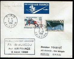 450 Oblitération Paris  Aviation 1958 Moscou Air Mail - France