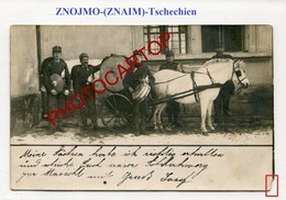 ZNOJMO-Attelage Militaire-CHEVAL-Grosse CAISSE-Musique-ZNAIM-TSCHECHIEN-CARTE PHOTO-Militaria-Animaux- - Czech Republic