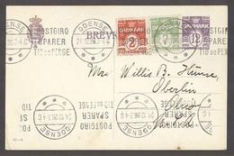 DENMARK. 1926 (24 Dec). Odense - USA / OH. 12 Ore Lilac Stat Card + 2 Adtls. Fine Colorful Item. - Non Classés