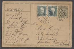 CZECHOSLOVAKIA. 1930 (19 Aug). Bozi Dar - USA / Florida / Sebring. 50h Green Stat Card + Adtl Pair Tied Cds. Better Dest - Czechoslovakia