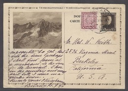 CZECHOSLOVAKIA. 1934 (10 July). Bosany - USA / Berkeley / CA. 1,20k Brown Ilustrated Stat Card + Adtl Stamp Ds. - Czechoslovakia