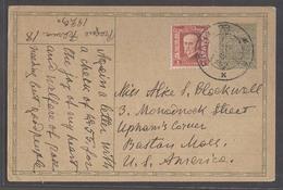 CZECHOSLOVAKIA. 1929 (18 Feb). Prague - USA / Boston. 50h Green Stat Card + Adtl 1k Red Cds. Fine. - Czechoslovakia