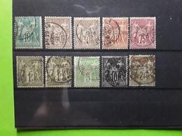 Type SAGE NSB,  10 Timbres Obl Avec Nuances, Yvert 65, 69 X2, 70, 71, 72 X2, 102,103, 105, Cote 142 Euros - 1876-1878 Sage (Type I)
