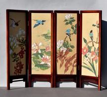 Petit Paravent Décoratif Peinture Sur Soie Chinoise - Décor D'oiseaux Et De Fleurs - Art Asiatique