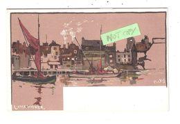 LIMEHOUSE LONDON ARTIST DRAWN RIVER THAMES BOATING FISHING PIRKIS ART POSTCARD - London Suburbs