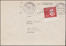 317 Beethoven 20 Pf. Aus Block 2 EF Bf. HAMBURG Luftschutz 9.12.59 Nach Bad Ems - BRD