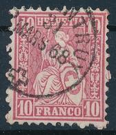 38 / 30 Sitzende Helvetia 10 Rappen Mit Einkreis Stempel PORRENTRUY 31. März 1868 - 1862-1881 Helvetia Assise (dentelés)