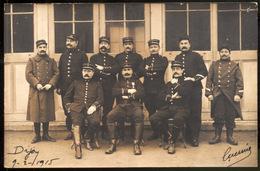 Carte Photo D'un Groupe Militaires - Dijon 9-2-1915.- Originale - Guerre, Militaire