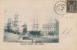 Pionnière Lille Port De Mer  Bateau à Voile  Timbrée Type Sage 1902 Vers Hesdin - Lille