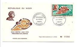NIGER 1970 PRECURSEURS DE L'ESPACE - ISAAC NEWTON - Célébrités