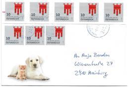 3000l: Österreich 2019, Portogerechte Mehrfachfrankatur Heraldik 10 Ct, 2452 Mannersdorf An Der Leitha, Blaustempel !! - 2011-... Lettres