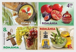Roumanie Romania 6085/88 Gastronomie, Figue, Raisin, Grenade, Huile D'olive, Pain Blé - Ernährung