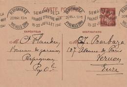 France Entier Postal Avec Oblitération Mecanique Perpignan Semaine De La France D'Outremer 15 22 Juillet 1941 - - Poststempel (Briefe)