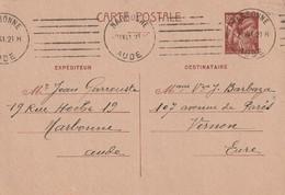 France Entier Postal Avec Oblitération Mecanique Narbonne Sans Texte 1941 - Postmark Collection (Covers)