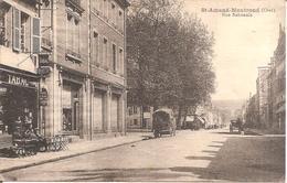 ST-AMAND-MONTROND (18) Rue Nationale Avec Le Bureau De Tabac Sur La Gauche En 1927 - Saint-Amand-Montrond