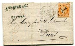 VOSGES De EPINAL LAC Du 28/07/1873 Avec Dateur T 17 GARE D EPINAL Et N°38 Oblitéré BEL P - Postmark Collection (Covers)