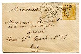 PARIS BELLEVILLE Env. Du 9/06/1873 Avec N°59 Oblitéré GC 432 - Postmark Collection (Covers)