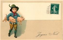 """Cochon - Illustrateur - Enfant Garçon Avec 2 Cochons - Pig - Cpa Début 1900 Gauffrée - """" Joyeux Noël """" - Cochons"""