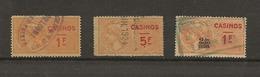FISCAUX FRANCE CASINOS  N°2 1F N°5 5 F  N°9 1F Et 2/10 En Sus Orange Oblitéré Cote 190 € - Fiscaux