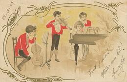 Piano  Violon Violoncelle  Violin Art Card  Envoi à Coulombiers Vienne Cachet Convoyeur Train Type Blanc - Music And Musicians