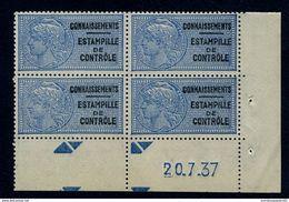 Fiscaux - Timbre De Connaissements - Estampille De Contrôle N° 30 CD Du 20/07/1937 - Revenue Stamps