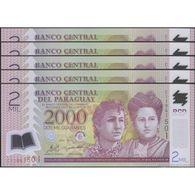 TWN - PARAGUAY 228c - 2000 2.000 Guaranies 2011 DEALERS LOT X 5 - Polymer - Prefix C UNC - Paraguay
