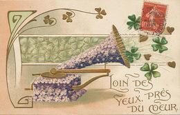 Art Card Gramophone Phonographe Gaufré Art Nouveau Coeur Trefle Porte Bonheur - Music And Musicians