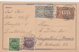 Allemagne Carte Inflation Ahlen Pour La Suisse 1923 - Lettres & Documents