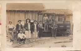 TRAINS .n°54476. Machine Decauville. Entrepreneur. Carte Photo - Trains