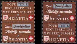 Schweiz Suisse 1942: Altstoff-Zusammendruck Se-tenant Zu Z34 A+b Mi SZd.1+3 ** MNH (Zu CHF 5.00) - Se-Tenant