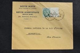 France - 1925 : Type Blanc 111 Sur Lettre Au Tarif Des Imprimés Pour Bingerville Côte D'ivoire - Marcophilie (Lettres)