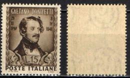 ITALIA - 1948 - GAETANO DONIZETTI - COMPOSITORE - MNH - 1946-.. République