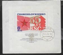 CECOSLOVACCHIA - 55° PARTITO COMUNISTA CECOSLOVACCO - 1976 - FOGLIETTO USATO (YVERT BF38 - MICHEL BL32) - Blocchi & Foglietti