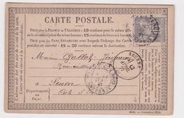 France-1877 15 Cents Grey On PS Formula Postcard Vivier-Au-Court Cover To Seurre - 1876-1878 Sage (Type I)