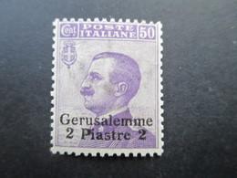 Italien / Levante Gerusalemme 2 Piastre Auf 50 Cent Ungebraucht / * / Falz - 11. Auslandsämter