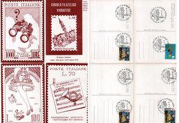 4 CP  Poste Italiane - Timbres - Cachet II Mostra Filatelica  (112696) - Timbres (représentations)