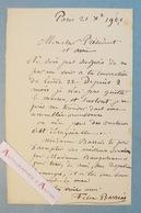 L.A.S 1901 Félix-Joseph BARRIAS Peintre & Illustrateur à William BOUGUEREAU - Lettre Autographe LAS Paris - Autographes