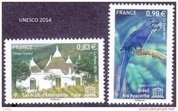 France - Timbre De Service N° 161 Et 162 ** Unesco 2014 - Ara Hyacinthe Du Brésil Et Les Trulli D'Alberobello En Italie - Neufs